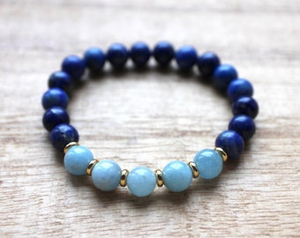 Lapis Lazuli and Aquamarine Mala Bracelet - Healing Crystals for Creativity,  Stress Relief, Clear Communication, Confidence,