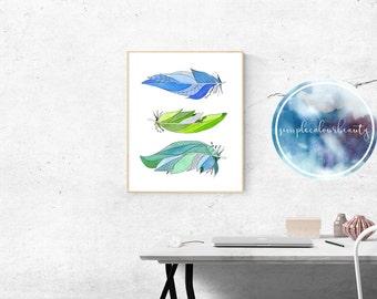 PRINT - 3 Feathers Watercolour Print - Colour Variation #2