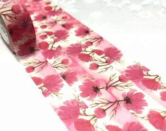 pink flower washi tape 7M pink scenery pink garden masking tape watercolor natural scenery decor pink sticker tape scrapbook gift wrapping