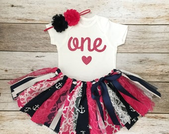 Pink and Navy Nautical Anchor Theme Birthday Outfit with Headband, Nautical First Birthday Girl, Nautical Birthday Outfit