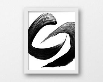 Yoga Art, Feng Shui Wall Art, Circle Art Print, Japanese Art, Minimalist Brush, Asian Art, Black Art Printable, Modernism, Large Art Print