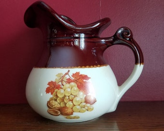 McCoy Pottery Pitcher 7515, brown and cream, grapes and nuts