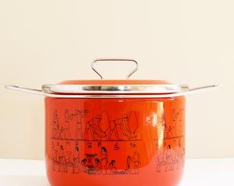 Mid Century Modern - Red Enamel Cooking Pot - Siltal  Italy - Depositata - Retro Enamelware Pot - 1960's
