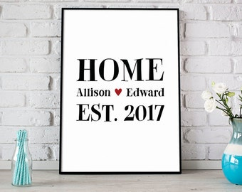 Custom Home Print With Couples Names & Est. Date, Heart, Housewarming Gift, Wedding Gift, New Home Wall Decor, Gift For Couples - (D140)