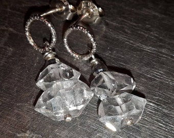 Herkimer diamond and Sterling silver earrings, faceted Sterling silver circles & Beads used to make a minimalist design.