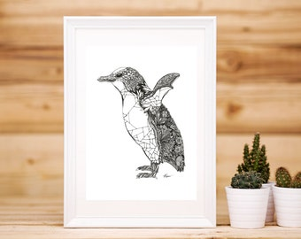 Flapping Penguin Print