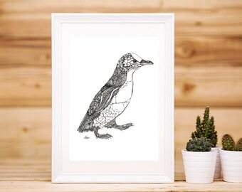 Walking Penguin Print