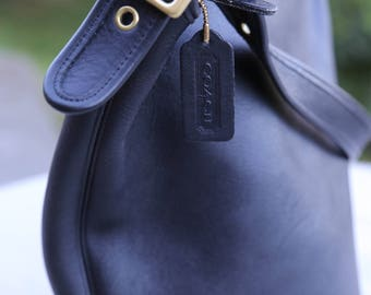 Coach Duffle Sack XL Black 9085 Leather Bucket Feed Bag Tote