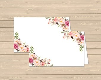 Floral Printable Boho Food Tent Cards Place Cards, Floral DIY Buffet Place Cards, Boho Food Table Signs, Boho Decor, Instant Download 025-W