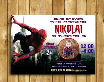Spiderman Invitation, Spiderman Birthday Invitation, Spiderman Invites, Spiderman Birthday Party, The Amazing Spiderman, Printable 5x7