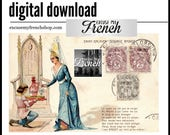 Digital Illustration * Middle Age style * Antique Stamped French Postcard