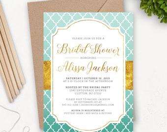 Printable Mermaid Bridal Shower Invitation Download / Bridal Brunch Shower Invitations /  Gold Bridal Shower Invitation / Quatrefoil