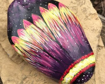 hand painted rock, painted stone, flower, wild flower, garden, fairy garden, spring, home decor, mothers day gift