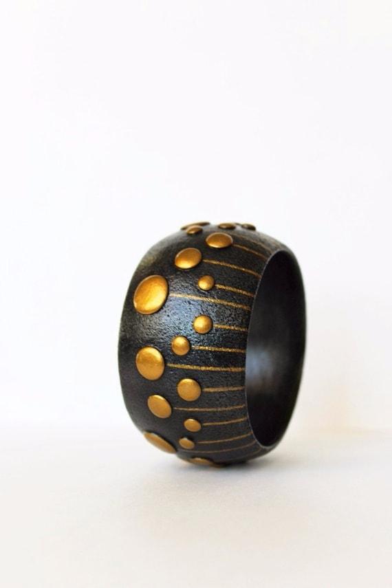 Polymer clay armband schmuck armreif breit blau gold bunt - Fimo muttertagsgeschenk ...