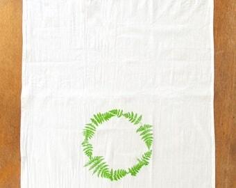 Fern Tea Towel , hand printed . green fern screen print flour sack , modern country modern rustic , Pantone Greenery , teacher gift , nature