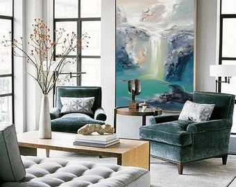 Abstract Oil Painting, Contemporary Art, Hand Paint Large Art, extra large wall art Landscape oil painting, blue painting, large canvas art.