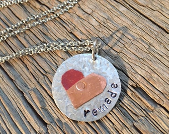 Hand-Stamped Necklace: Remade - Riveted Copper Heart
