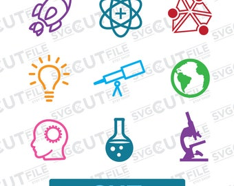 Science fair back to school icons svg, chemistry class teacher appreciation present, space preschool, atom telescope club, junior high dxf,