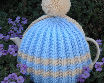 Vintage Style Tea Cosy, hand knitted and crocheted, lined tea cosy in blue and cream