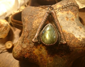 Labradorite and Real Bone, Antiqued Copper Pendant