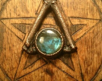 Labradorite and Real Bone Antiqued Copper Pendant