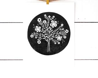 Flower Art Print, Flower Artwork, Floral Art Print, Linocut, Lino Print, Block Printed Artwork, Black and White Art, Black Artwork, Circle