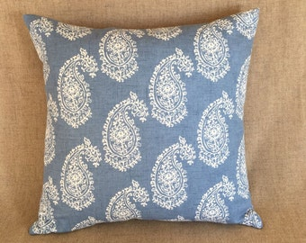 Large square Paisley cushion in Blue Chambray cotton fabric. Same fabric front and back. 48cm x 48cm, cushion pad included.