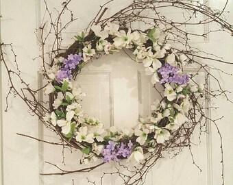Farmhouse Wreath, Rustic Wreath,  Purple Wreath, Lilac Wreath, Spring Wreath, Front Door Wreath, Wreath Front Door, Country Home Decor
