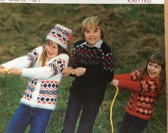 Childrens Fair isle Knitting Pattern, Twilleys Knitting Pattern, Childrens Fair Isle Sweater, Fair Isle Jacket Hat, Childrens Jumper, 6587