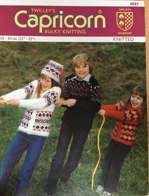 Childrens Fair isle Knitting Pattern, Twilleys Knitting Pattern ...