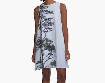 Unique Dress Nature Print ~ Pale Blue A-Line Dress ~ Beach Coverup, Tree Print, Tree Art Dress, Nature Photography, Women's XS S M L Xl 2Xl