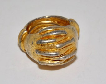 Gold ring clasped hands,friendship ring,size 8-9,adjustable insert band,friendship jewelry,gold tone ring,clasped fingers jewelry