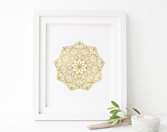 Mandala wall art, Gold, Zen, Home, Office, Printable wall art, Minimalist, Yoga print, meditation, Relax, Tranquil art print, mandala print