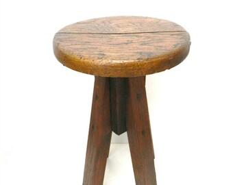 Vintage 1940s Wooden Stool...Spinning Swivel Sitting Stool...Handmade Folk Art Furniture...Unique Primitive Decor...Urban Farmhouse