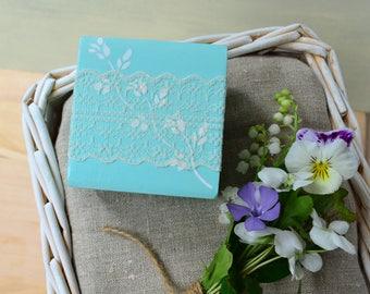 Mint wedding ring box, proposal engagement ring box, ring holder bearer box, pillow alternative, wood jewelry personalized box, wedding gift