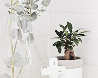 Handmade white concrete marble cross decor (Home/Living/Bedroom/Kitchen/Christening/Baptism decor)