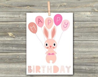 DIGITAL CARD Happy Birthday rabbit pink download card Greeting Card for girl baby kids card happy birthday card baby