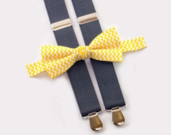 toddler birthday outfit, yellow chevron bow tie & gray suspenders, toddler suspenders bowtie
