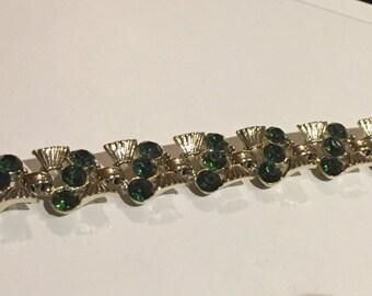 "Claudette Goldtone and Green Rhinestone Bracelet 7"""