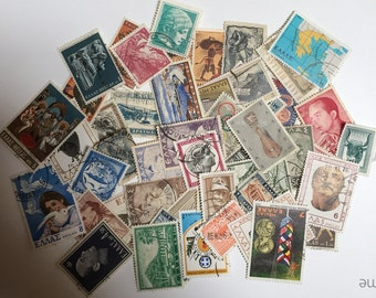 50 Greek Postage Stamps Vintage