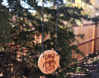 Woodburned Beetle Pendant Necklace