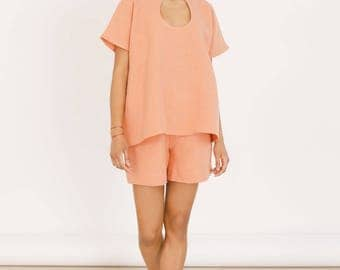 SALE, Organic hemp cut-out top in Coral, Summer tops, womens clothing, womens tops, hemp clothing, sustainable clothing, linen blouse