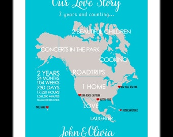 Custom 2 year story map for couples, love story map, engagement gift, personalized wedding anniversary, customizable art print