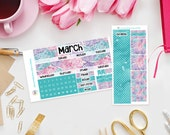 Happy Planner - Hippy Hydrangea - Monthly View Sticker Kit for Classic Happy Planners - Any Month Available - Sunday or Monday week start
