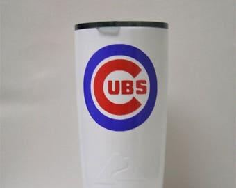 Chicago Cubs, yeti, ozark, powder coated, custom cup, custom yeti, custom ozark, cubs, powder coat, ozark trail, yeti tumbler, tumblers,