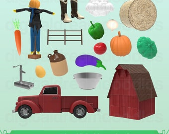Barn Clipart, Barn Clip Art, Scarecrow Clip Art, Farm Image, Vegetable Graphic, Hay Bail Scrapbook, Eggplant, Squash, Onion Digital Download