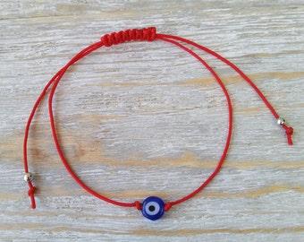 Evil eye bracelet, Red string bracelet with tiny evil eye, Protection bracelet, Dainty bracelet, Mati bracelet, Minimalist bracelet