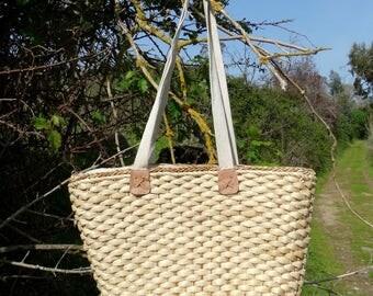 Large wicker market tote straw basket bag market bag lined straw market tote bag with zip large wicker tote vintage 1990s
