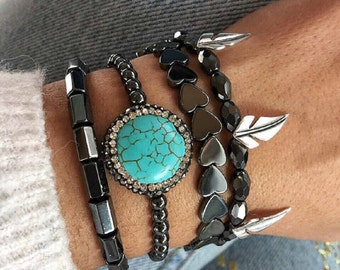 Turquoise Stone Bracelet, Turquoise Bracelet, Hematite Bracelets, Women's Bracelets, Fashion Bracelets, Hematite Jewelry, Gift for her.