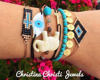 Mix and Match Bracelets, Handmade Bracelets for Women, Gold 24k Jewelry, Gift for Her, Made in Greece by Christina Christi Jewels.